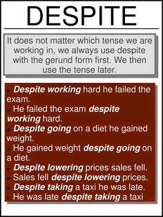 English: use of 'despite' Advanced English Grammar, English Grammar Rules, Learn English Grammar, English Phrases, Grammar And Vocabulary, English Idioms, English Language Learning, English Words, English Lessons