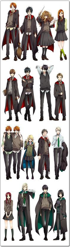 Ron, Harry, Hermione, Ginny / Remus, James, Sirius, Peter / Fred&George, Luna, Neville, Draco / Lily, Lucius, Regulus, Snape