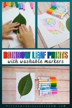 Use washable markers for this rainbow leaf printmaking project for kids! Summer Crafts For Kids, Art For Kids, Fun Things For Kids, Nature For Kids, Art Project For Kids, At Home Crafts For Kids, Arts And Crafts For Kids Easy, Summer Camp Art, Summer Camp Games