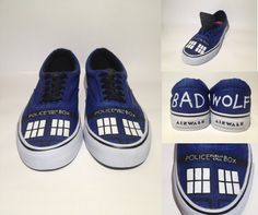 Tardis Shoes - Hand Painted Doctor Who Themed Canvas Sneakers (Men's AND Women's Sizes)