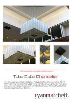 #TubeCube #Chandelier Portfolio Lighting, Pvc Tube, Industrial Design, High Gloss, Chandelier, House Design, Building, Candelabra, Industrial By Design