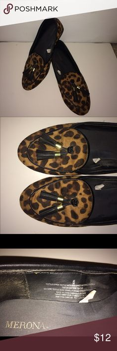 Cheetah loafers! Gently worn Target cheetah loafers! Worn maybe 2-3 times! Very timeless shoes, absolutely love! Also can fit a size 7. Price is not firm please use the offer button to make an offer. Ships within 2-3 business days. Let me know if you have any questions. Thanks! Merona Shoes Flats & Loafers