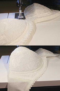 Instrucciones con fotos para coser un sujetador con aros y copas de espuma. Sewing instructions for Makebra's Petite bra. Someday!