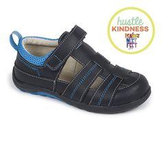 See Kai Run Christopher II Boy Sandals Leather Black + Blue Summer KAI118M $55 #SeeKaiRun #Sandals