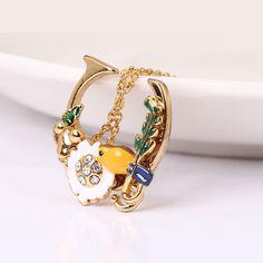 French Les Nereides Unique Letter C Bird Flower Pendant Necklace Gold Plated Women Sweater Necklaces
