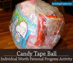 My Mia Maids LOVED this activity! Candy Tape Ball Individual Worth Personal Progress Activity - for Wendy Mutual Activities, Young Women Activities, Activities For Girls, Church Activities, Camping Activities, Family Activities, Sisterhood Activities, Indoor Activities, Winter Activities