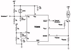 TC646, temperatuurgestuurde ventilatorregeling. De TC646 van MicroChip bevat een proportionele snelheidsregeling voor DC-ventilatoren. Dat wil zeggen dat het toerental van de motor wordt aangepast aan de omgevingstemperatuur. Hoe warmer, hoe sneller de motor gaat draaien.
