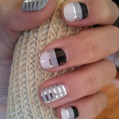 Jamberry grey and silver pinstripe and silver lining