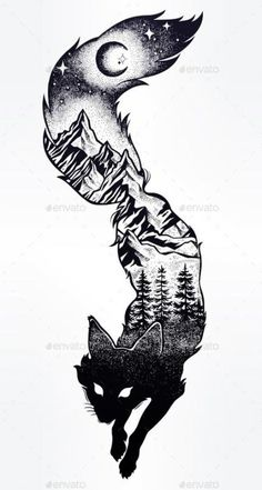Double exposure, deocrative fox with nature pine forest cones with mountains lan.Double exposure, deocrative fox with nature pine forest cones with mountains landscape, night sky. Tattoo Drawings, Cool Drawings, Body Art Tattoos, New Tattoos, Sleeve Tattoos, Cool Tattoos, Hand Tattoos, Gothic Drawings, Awesome Tattoos