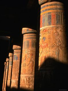 Columns at Ramses III Second Court, Medinet Habu, Thebes, Luxor, Egypt