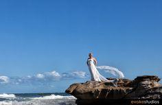 Beautiful wedding gown for a beach wedding