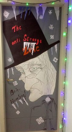Scrooge Amp Marley Holiday Window Large 25x44 Words Can