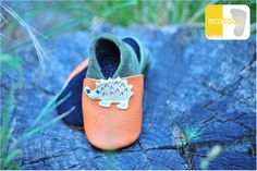 ecotisos - patucos y zapatos infantiles de suela blanda - hechos de cuero ecológico - modelo ERIZO