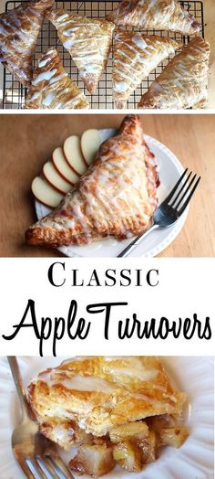 Apple Turnovers, Desserts, Apples and cinnamon are a heavenly duo in this recipe for Classic Apple Turnovers. These crispy treats are perfect for breakfast or dessert! Apple Dessert Recipes, Köstliche Desserts, Delicious Desserts, Breakfast Recipes, Yummy Food, Health Desserts, Simple Apple Recipes, Autumn Desserts, Apple Breakfast
