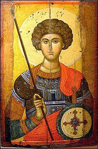 Icona de sant Jordi (segle XIV), provinent d'un obrador de Constantinoble. Atenes: Museu Cristià i Bizantí.