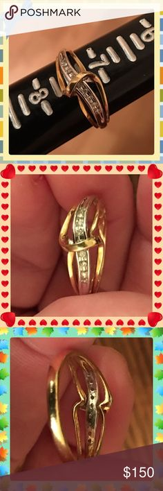 Beautiful 10K YG & Diamond Ring in SZ 7.5? This was from a trade I did on Poshmark and I never wore it. I love how the swirl of gold goes across the top protecting the diamonds that go clear across under the swirl. In awesome condition and looks great on. I believe there are 9 diamonds under the swirl. I can no longer wear 10K gold so it This doesn't sell I will give it to my Daughter, not desperate to sell & PRICE IS FIRM. 10K Yellow Gold & Diamonds Jewelry Rings