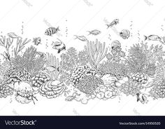 Coral reef and fishes pattern vector image on VectorStock Ocean Sleeve Tattoos, Shell Tattoos, Ocean Tattoos, Leg Sleeve Tattoo, Sea Tattoo, Colouring Pages, Adult Coloring Pages, Coloring Books, Coral Tattoo