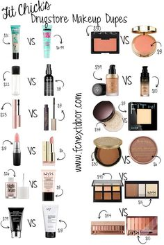 Fit Chicks Simple Swaps: Drugstore Makeup Dupes - Vol 2 - Pin-able - makeup products - http://amzn.to/2hcyKic