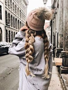 Beauty ~ Dirty Blonde Dutch Braid Pigtails with Brown Beanie ♡ My Hairstyle, Pretty Hairstyles, Braided Hairstyles, Beanie Hairstyles, Hairstyle Ideas, Short Hairstyles, Dutch Pigtail Braids, Braided Pigtails, Good Hair Day
