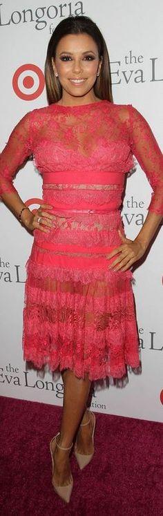 Eva Longoria Pink Dress August 2017