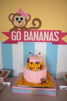 What a great cake at a Monkey Girl birthday party!  See more party ideas at CatchMyParty!