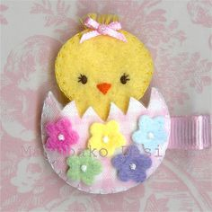Felt Easter Chicken Hair Clip Pink by MagubakoDesigns on Etsy, $4.99