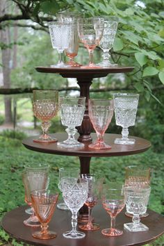 Vintage pink and clear stemware from Southern Vintage rental. Perfect for a romantic elegant table setting at your wedding or event!
