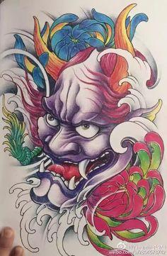 Samurai Mask Tattoo, Hannya Mask Tattoo, Hanya Tattoo, Demon Tattoo, Warrior Tattoos, Oni Mask, Japanese Tattoo Art, Japanese Tattoo Designs, Japanese Art