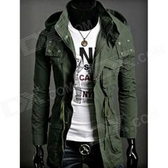 Brand: No; Quantity: 1; Color: Army green; Material: Cotton; Gender: Men; Suitable for: Adults; Style: Casual; Size: L; Shoulder Width: 45 cm; Chest Girth: 90~104 cm; Sleeve Length: 64 cm; Total Length: 99 cm; Suitable for Height: 158~178 cm; Packing List: 1 x Coat; http://j.mp/1p102jO