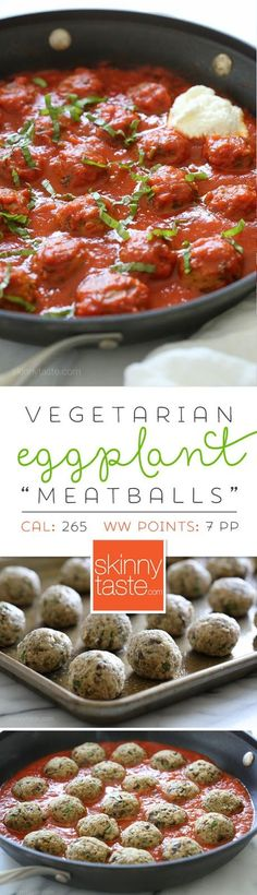"Eggplant ""Meatballs"" – hearty eggplant is one of the best vegetable substitutes to make these luscious, meatless ""meatballs""."