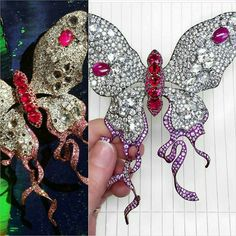 On a bejewelled wing of a diamond and ruby encrusted titanium butterfly from @annahu
