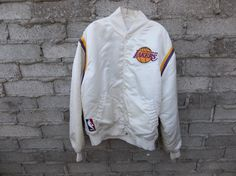 Vintage Lakers Jacket White Satin 80s sz by RetroVintageClothing