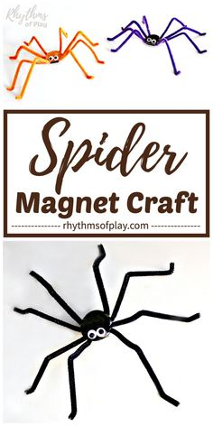 These cute magnetic Spiders are an easy Halloween spider craft for kids and adults, that double as cool creepy crawlies for Halloween spider decorations. Diy Halloween Door Decorations, Diy Halloween Spider, Fun Halloween Games, Halloween Arts And Crafts, Halloween Activities For Kids, Creative Activities For Kids, Easy Crafts For Kids, Cute Halloween, Creative Kids