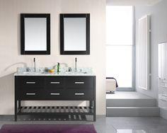 London 61in Double Sink Vanity Set in Espresso with Open Bottom DEC077C