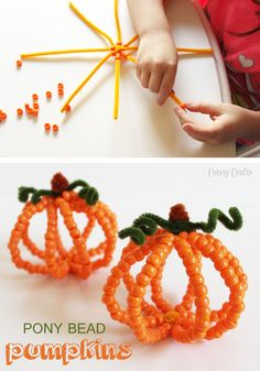 Need a fun Halloween kid craft? Make these cute pony bead pumpkins with your kids this fall. They will love stringing the beads on the pipe cleaner!