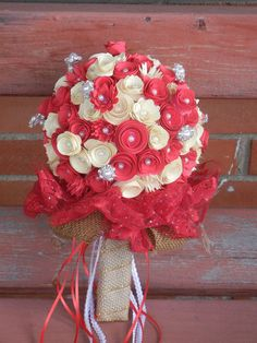 White and Red Paper Bouquet