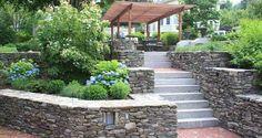 A Gardner + Gerrish Design, pergola leading to terraced stone steps. Stone Steps, Stepping Stones, Landscape Design, Terrace, Pergola, Sidewalk, Wall, Balcony, Stair Risers