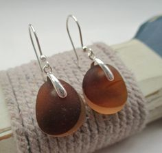 Brown End Of Day Sea Glass Sterling Silver Earrings by SeahamWaves