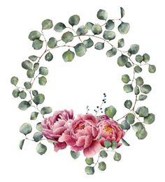 Watercolor wreath with eucalyptus branch and peony. Flower Frame, Flower Art, Watercolor Flowers, Watercolor Paintings, Floral Wreath Watercolor, Illustration Blume, Photo Deco, Envelope Art, Decoupage Box