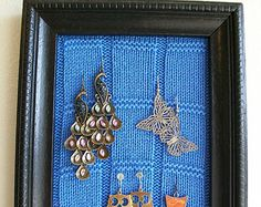 Jewelry Organizer, Earring Holder, Upcycled Wooden Frame with Knit Sweater, Earring Display, Decorative Picture Frame