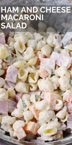 This easy classic ham and cheese macaroni salad recipe is the best macaroni salad in the world! Super simple to make and has vegetables like carrots and peas. Its perfect to make with ham leftovers! Macaroni Salad With Ham, Homemade Macaroni Salad, Macaroni And Cheese Salad Recipe, Pasta With Ham And Peas, Macaroni Recipes, Best Pasta Salad, Ham Pasta Salads, Easy Salad Recipes, Easy Mac Salad Recipe
