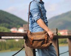 Brown #Canvas & #Leather #Messenger Bag