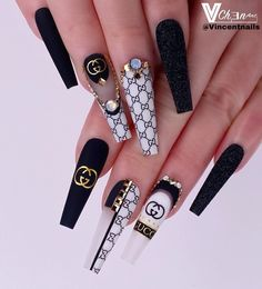 Summer Acrylic Nails, Best Acrylic Nails, Bling Nails, Swag Nails, Glitter Nails, Black And White Nail Designs, Black Nail, Red Nail, Nail Nail