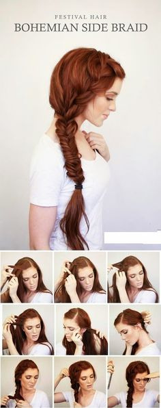 Hairstyles for work Bohemian Side Braid Festival Hair Tutorial Bohemian Side Braid Festival Haar Tutorial, Medium Hair Styles, Curly Hair Styles, Hair Medium, Hair Styles Steps, Short Styles, Hair Lengths, Hair Trends, Hair Inspiration, Wedding Hairstyles