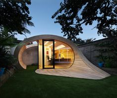 gartenpavillon holz oval modern