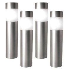 Paradise Garden Lighting Bright White LED Frosted Lens Solar Bollard Kit    Stainless Steel   Set