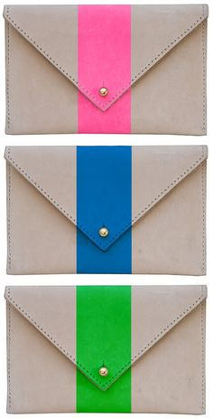 Simple with a twist! Natural, undyed leather 'Pochettes' with silk screen stripes from Clare Vivier.