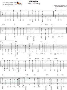 Michelle - fingerstyle guitar tablature 1