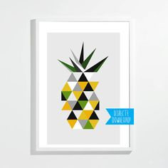 Poster pineapple | Geometric | Summer | Direct download | Print on the wall | Triangles | Graphic design | Yellow, green, grey | Hip