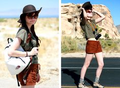 The North Face Vintage Backpack, Brown Shorts, Hiking Boots, H&M Floppy Felt Hat, Crop Top